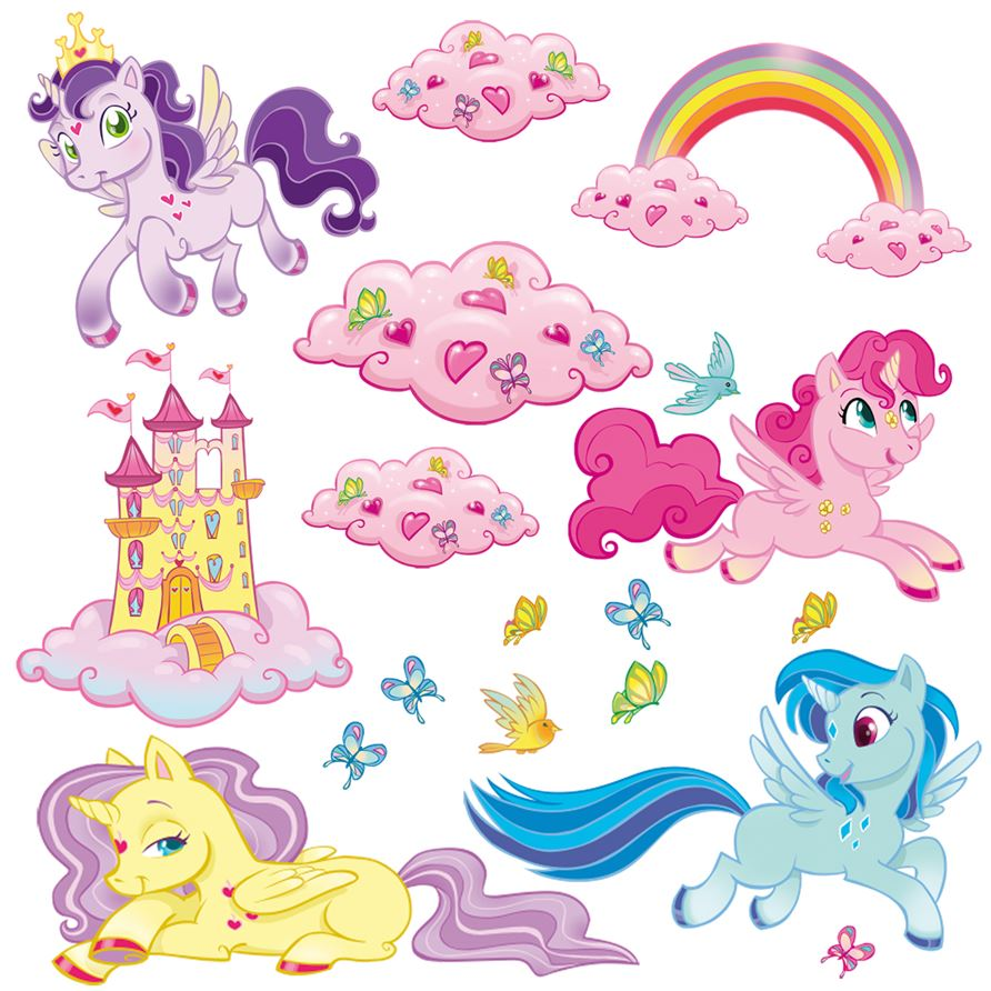 adesivo murale bambino stickers LeoKit start I Mini Unicorni